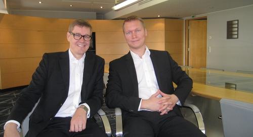 HH Partnersin hallituksen puheenjohtaja Arto Kukkonen ja toimitusjohtaja Markku Korvenmaa